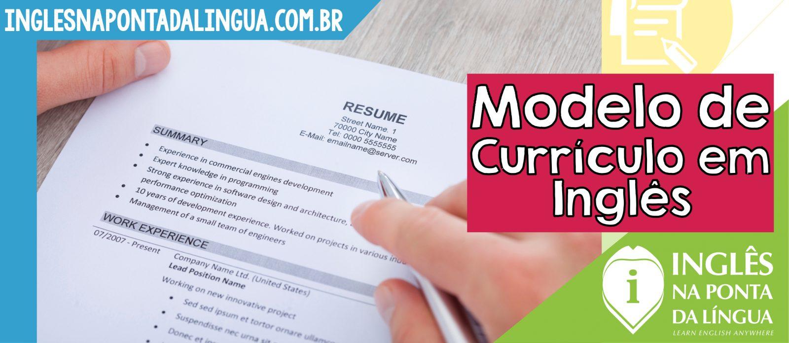 Modelo de Currículo em Inglês